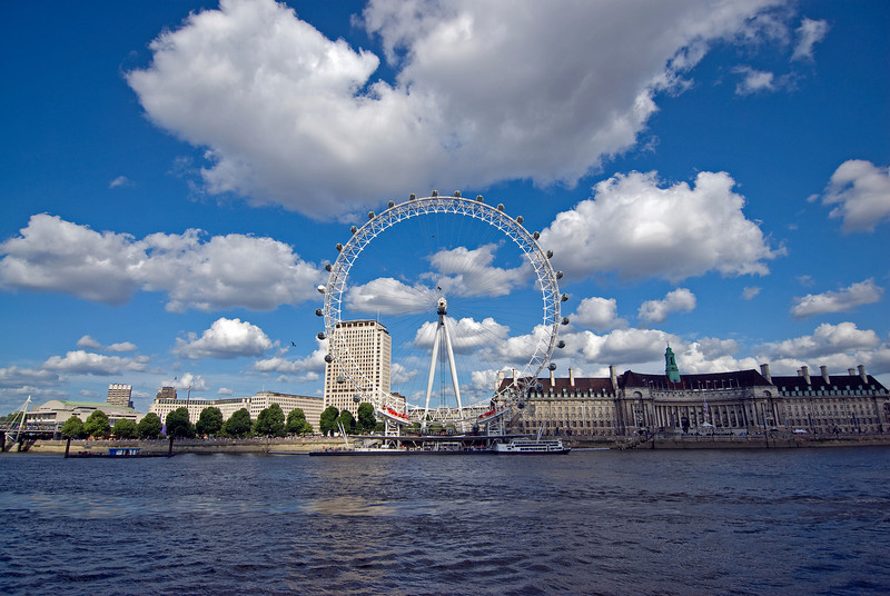 Wide shot of the London Eye in Westminster, England