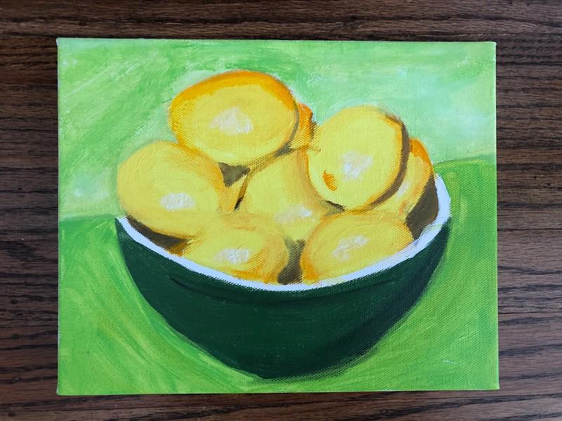 Bowl of lemons, acrylic on canvas board, 2020