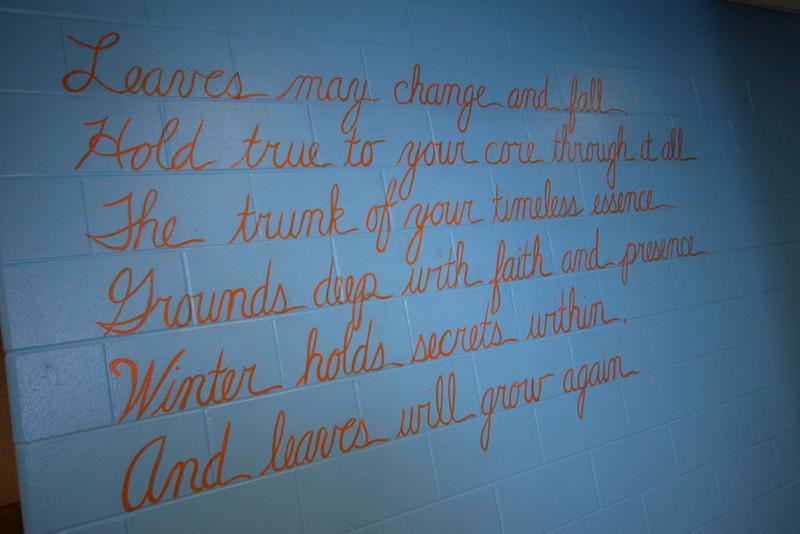 "7.   ""Wisdom Tree"" mural poem. 16 x 9.5 ft, acrylic on concrete block. 2010"