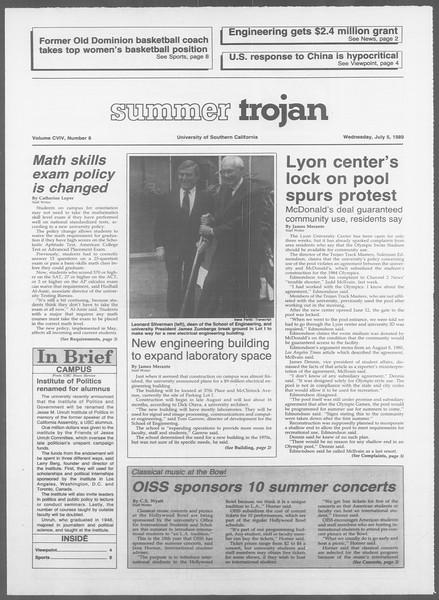 Summer Trojan, Vol. 109, No. 8, July 05, 1989