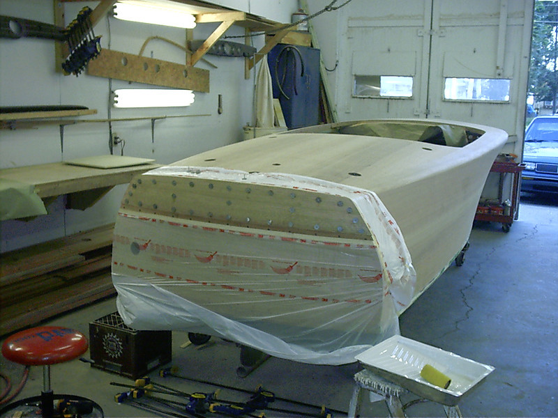 Top transom plank glued in place.