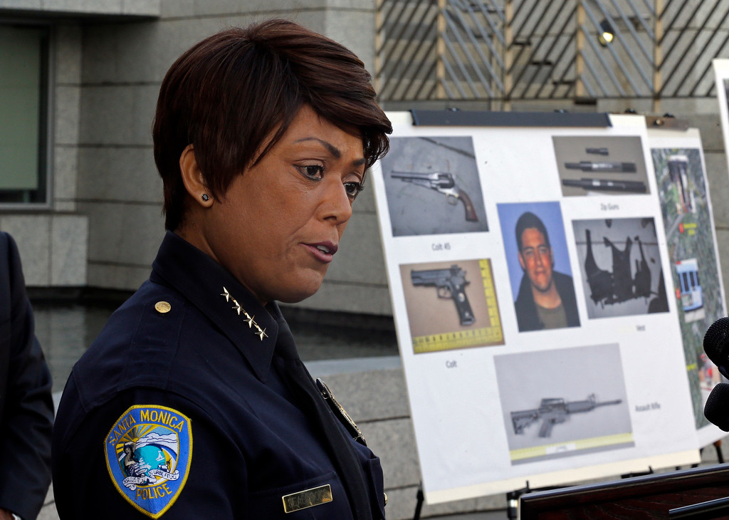 . Police Chief Jacqueline Seabrooks of the Santa Monica, Calif., Police Department speaks at a news conference Thursday, June 13, 2013, at which additional evidence photos of the June 9 shooting rampage by John Zawahri  were released. (AP Photo/Reed Saxon)