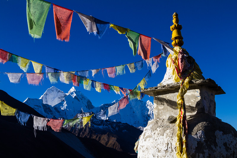 A Stupa And Prayer Flags Are In Front Of Kangtega, Dingboche, Solukhumbu, Himalayas, Nepal, Asia