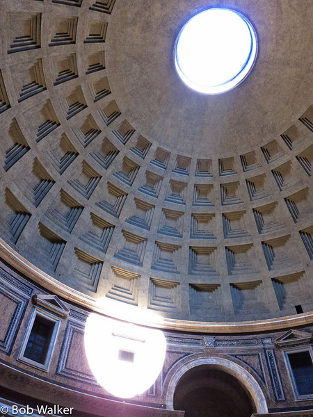 Almost two thousand years after it was built, the Pantheon's dome is still the world's largest unreinforced concrete dome. Light from the dome hits the side in a sundial effect