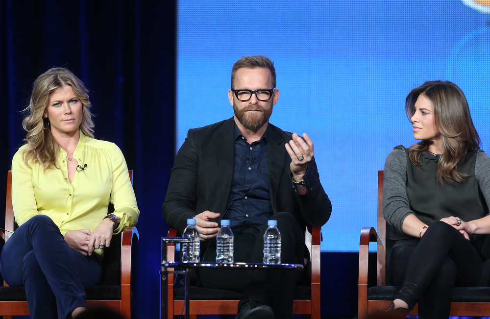 Description of . Host Alison Sweeney, trainers Bob Harper, and Jillian Michaels speak onstage at the