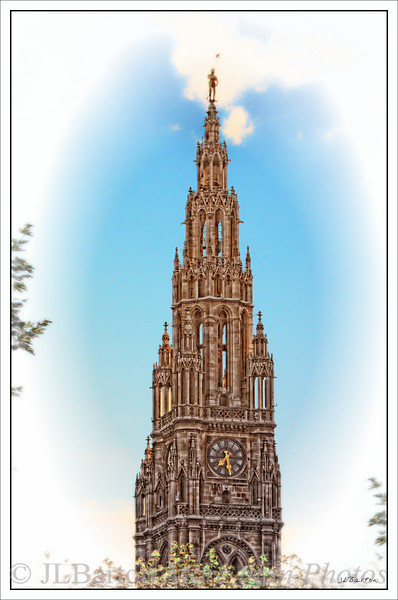 """Vienna City Hall  (Wiener Rathaus), elevation of the middle tower. Complete with the """"Rathausmann"""" - a 5 meter high figure of a knight.   Completed in 1883, an excellent example of neo-Gothic architecture.  The tower, including knight, is 105 meters high."""