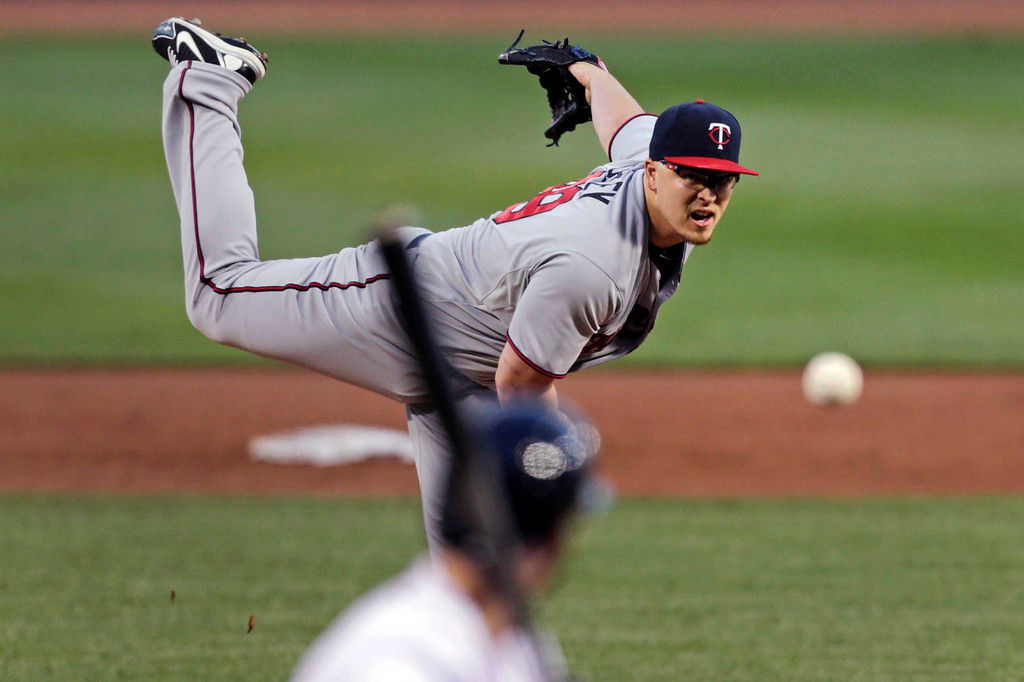 . Minnesota Twins starting pitcher Vance Worley delivers during the first inning. (AP Photo/Charles Krupa)