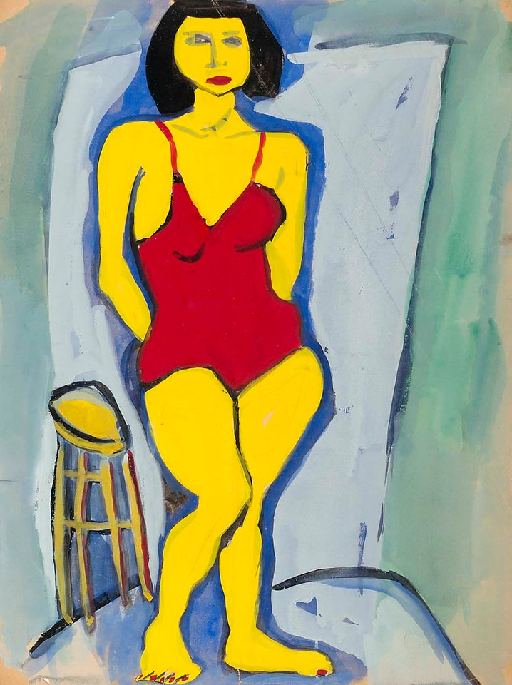 "William H. Johnson, ""Standing Woman in Red Bathing Suit"" (c.1939-40)"