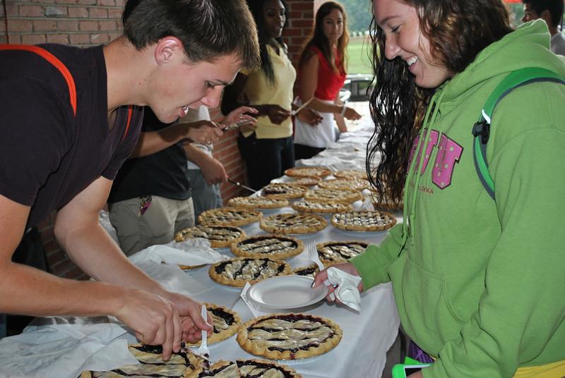serving pies.