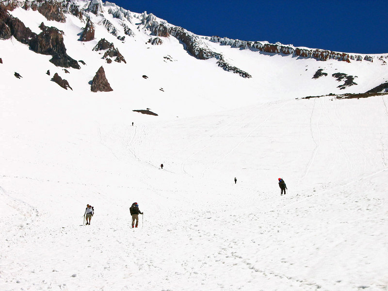 Climbers head toward base camp at Helen.