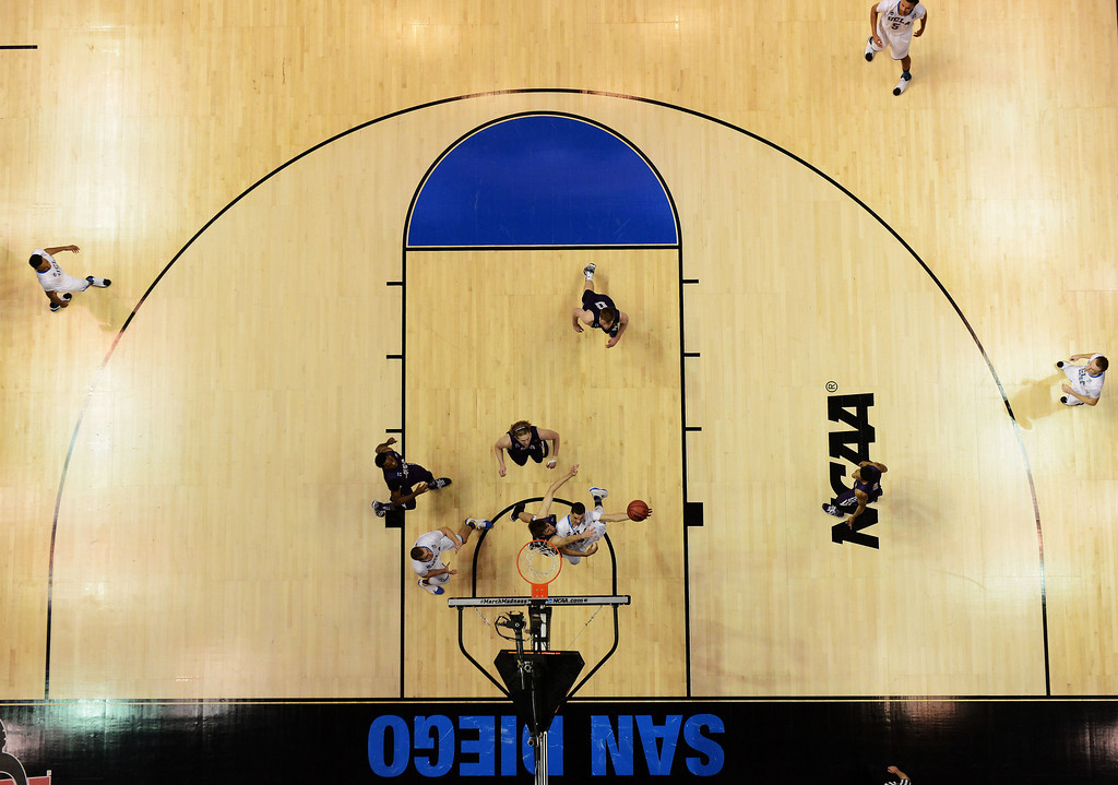 . Zach LaVine #14 of the UCLA Bruins shoots against the Stephen F. Austin Lumberjacks during the third round of the 2014 NCAA Men\'s Basketball Tournament at Viejas Arena on March 23, 2014 in San Diego, California.  (Photo by Donald Miralle/Getty Images)