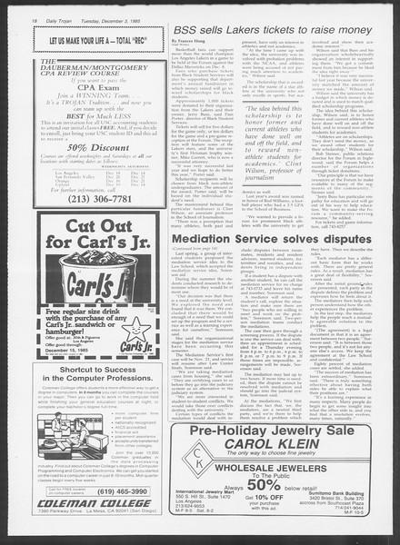 Daily Trojan, Vol. 100, No. 59, December 03, 1985