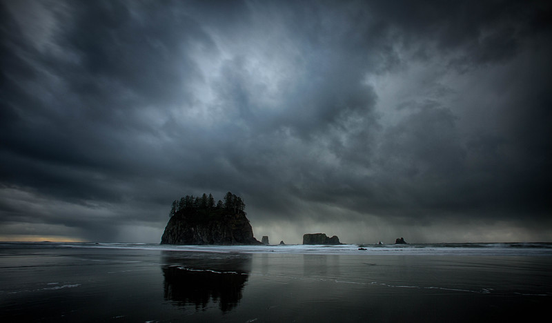 Sea stacks in winter storm, Olympic National Park