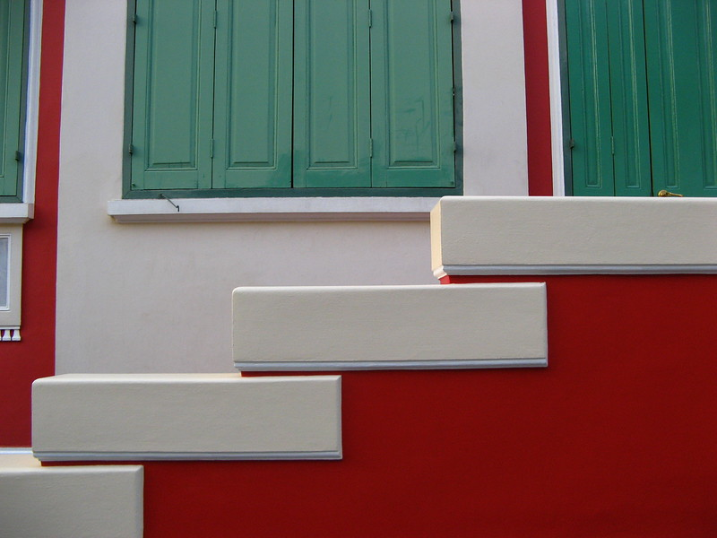 Newly painted steps at a monk's residence