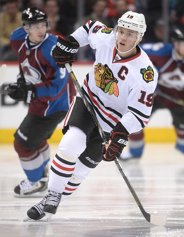 . Chicago center Jonathan Toews (19) skated in the third period as the Colorado Avalanche defeated the Chicago Blackhawks 3-2 at the Pepsi Center Wednesday night, March 12, 2014 in Denver, Colorado. (Photo by Karl Gehring/The Denver Post)