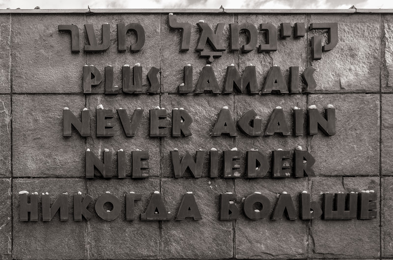 """Never Again"" in five languages at the International Monument"