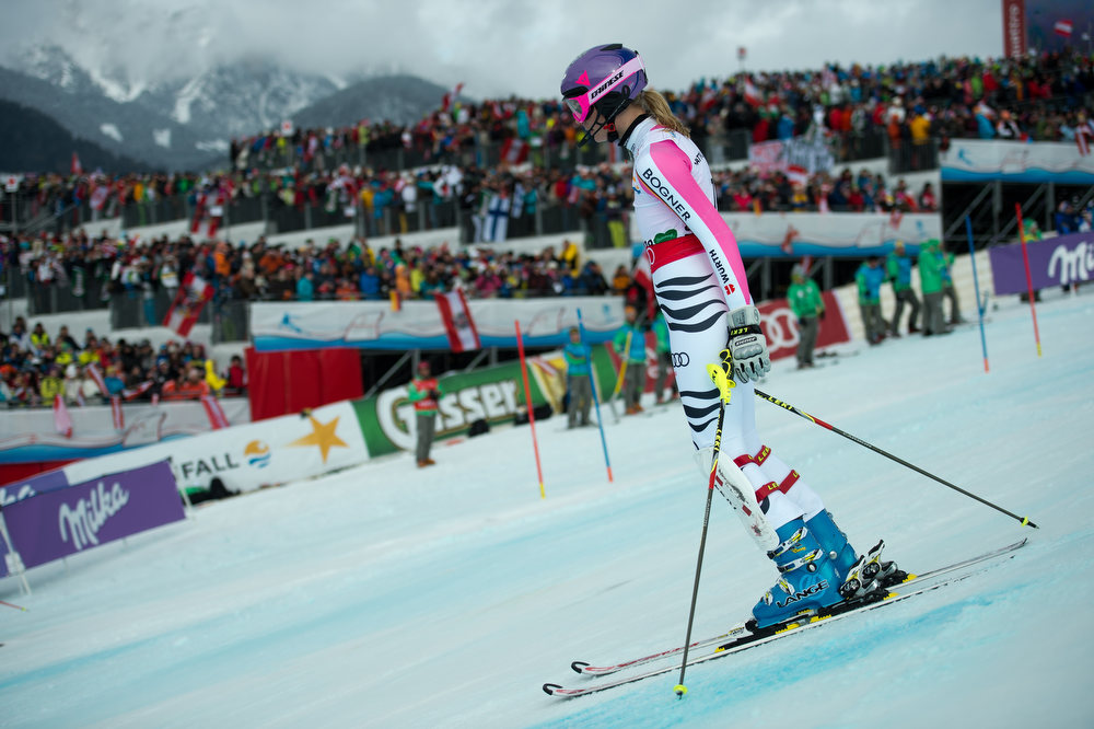 Description of . Germany's Maria Hoefl-Riesch skis down after missing a gate during the second run of the women's slalom at the 2013 Ski World Championships in Schladming, Austria on February 16, 2013.  OLIVIER MORIN/AFP/Getty Images