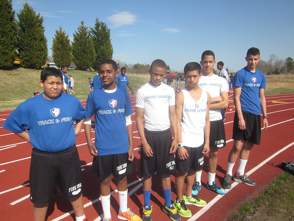 Members of the Middle School track team prepare for their meet.