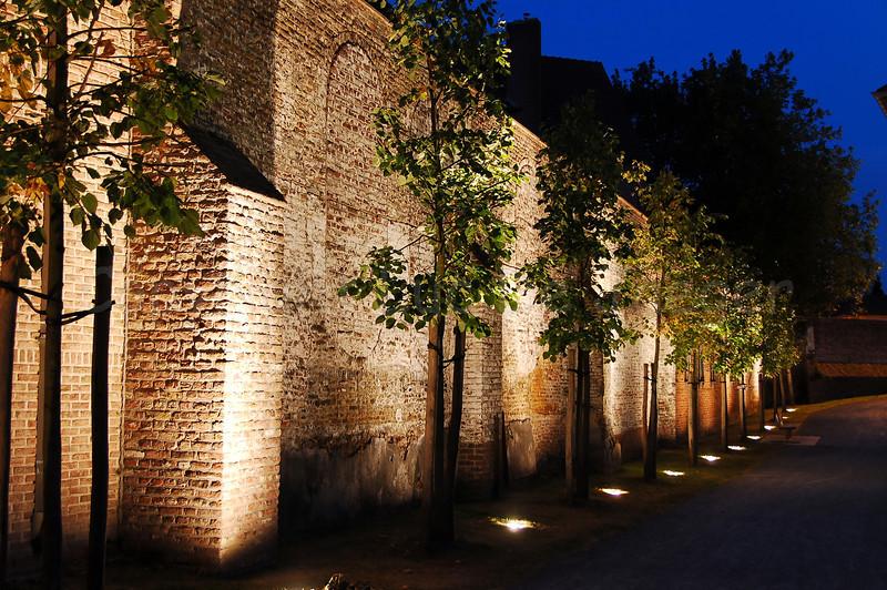 The entrance of the Begijnhofpark in Courtrai (Kortrijk), Belgium, captured at dusk.