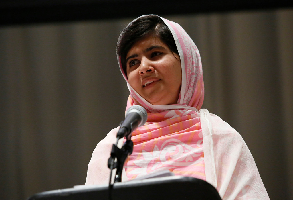 . In this photo provided by the United Nations Foundation, Malala Yousafzai celebrates her 16th birthday by addressing hundreds of young leaders who support the United Nationís Secretary General\'s Global Education First Initiative, during \'Malala Day\' at United Nations Headquarters, Friday, July 12, 2013. Malala continues to campaign for every child\'s right to education after surviving an attack by the Taliban in Pakistan last year. (AP Photos/United Nations Foundation, Stuart Ramson)