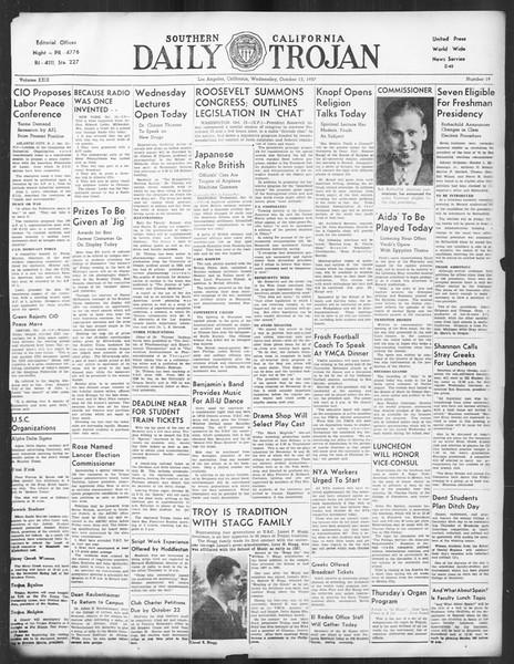 Daily Trojan, Vol. 29, No. 19, October 13, 1937