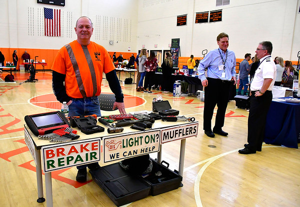 5/3/2019 Mike Orazzi | Staff Cliff Jones during the 9th Annual Terryville High School Career Fair on Friday morning.