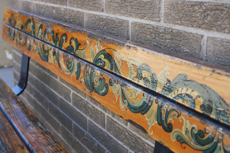 Mount Horeb has a strong Norwegian history. A look at the benches lining Main Street shows traditional Scandanavian art work.