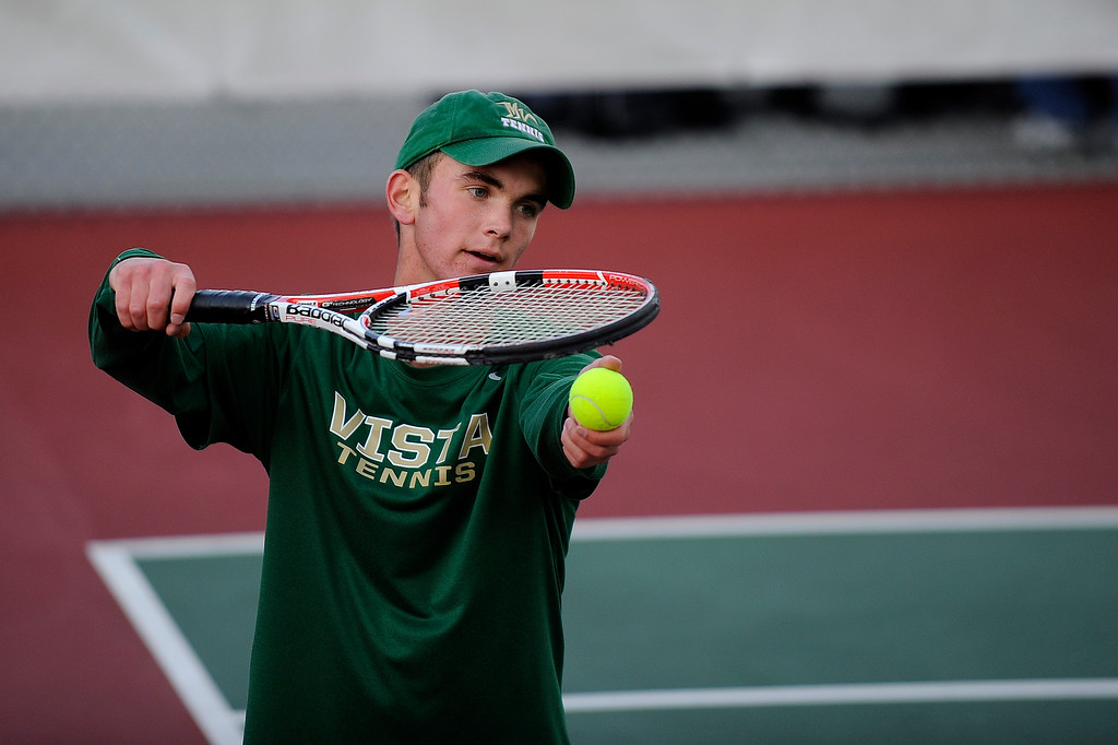 . DENVER, CO. - OCT 12:   Ben Antonsen, of Mountain Vista, serves to opponent Connor McPherson of Cherry Creek. The due played in the #2 singles match during the final day of the 5A Boys\' Tennis Championships at Gates Tennis Center on Oct. 12, 2013.  (Photo By Erin Hull/The Denver Post)
