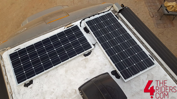 renology 200 watt solar panels on top of an rv