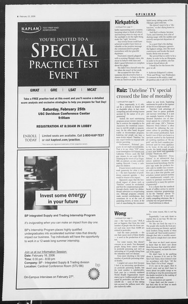 Daily Trojan, Vol. 157, No. 25, February 15, 2006