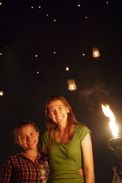Ana and me as the lanterns float away during Loy Krathong in Chiang Mai, Thailand