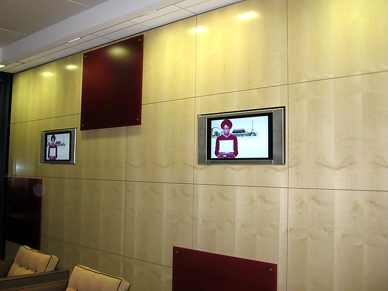 These LCDs were set nicely into the maple wall of the lobby.