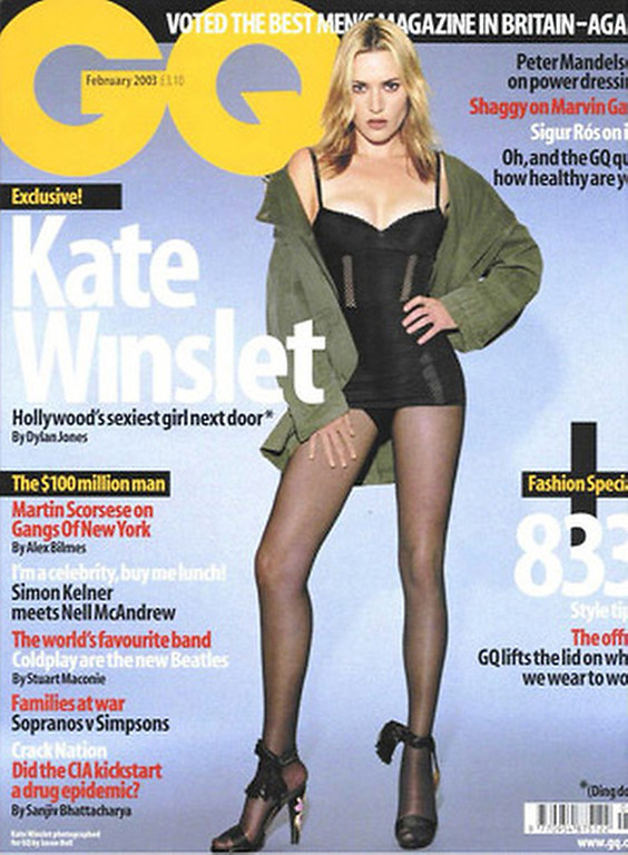 """. January 2003:  This cover of GQ magazine featured a digitally slimmed actress Kate Winslet. Winslet said that the retouching was \""""excessive.\"""" \""""I don\'t look like that and more importantly I don\'t desire to look like that. I can tell you that they\'ve reduced the size of my legs by about a third\"""", said Winslet.   SOURCE: http://www.cs.dartmouth.edu/farid/research/digitaltampering/"""