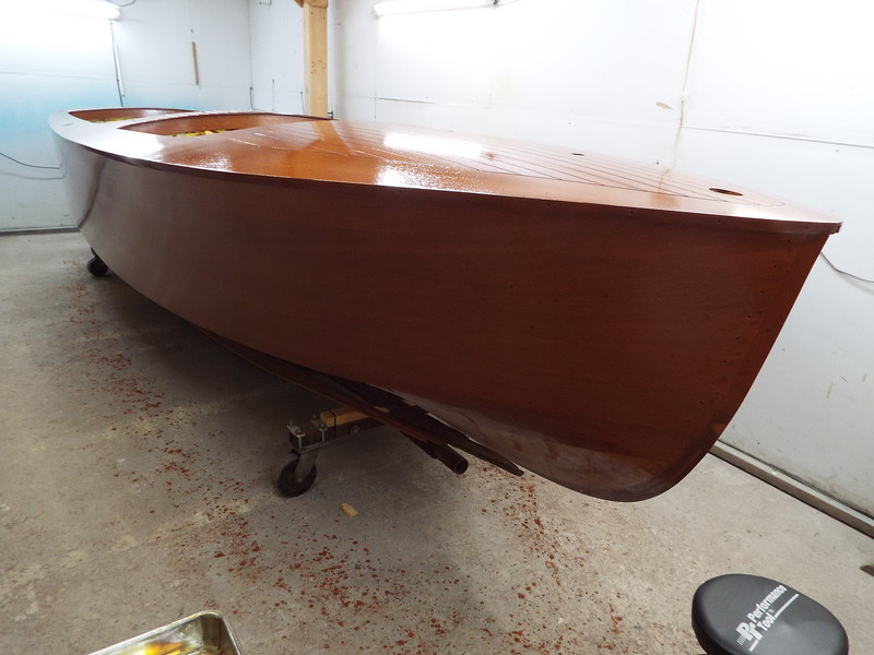 Starboard side with two coats of varnish applied.