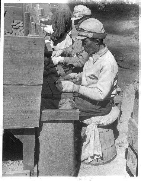 """""""These elderly Japanese are cutting seed potatoes to be planted by the younger residents of the Tule Lake, California, relocation center"""" -- caption on photograph"""