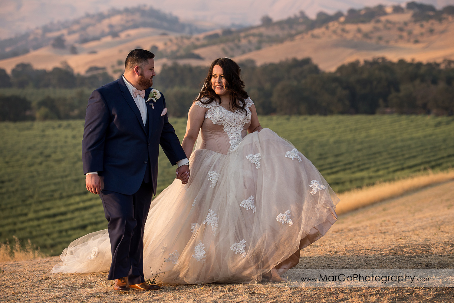 groom and groomsmen holding hands and walking at Taber Ranch Vineyards