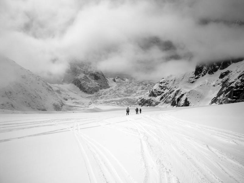 After descending the Geant Glacier (upper middle) we joined France's biggest glacier, the Mer de Glace ('sea of glass').