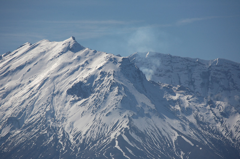 Mt St Helens. Steam from the lava dome (barely visible behind the ridge) can be seen on the right side of the photo.