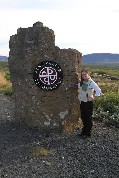 Brigitt at the Thingvellir National Park sign