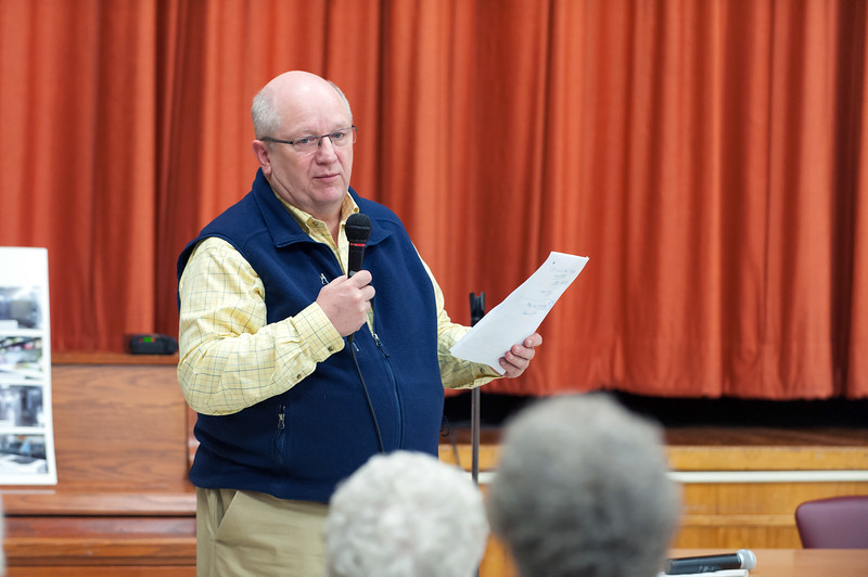 11/13/18  Wesley Bunnell | Staff  A public forum for a potential new community and senior center was held at the Berlin Senior Center on Tuesday afternoon with a packed audience. Berlin Town Manager Jack Healy speaks to the audience.