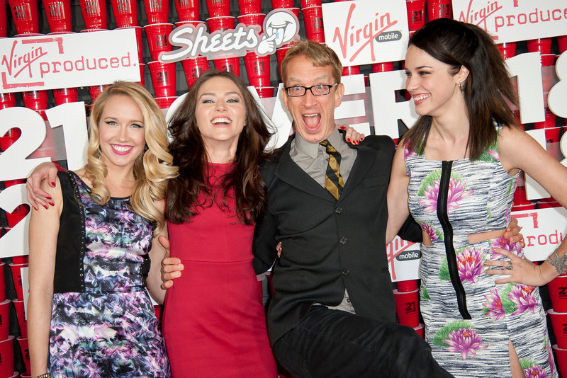 WESTWOOD, CA - FEBRUARY 21: Actresses Anna Camp, Trieste Dunn, Andy Dick and actress Alexis Knapp attend Relativity Media's '21 and Over' premiere at Westwood Village Theatre on Thursday, February 21, 2013 in Westwood, California. (Photo by Tom Sorensen/Moovieboy Pictures)