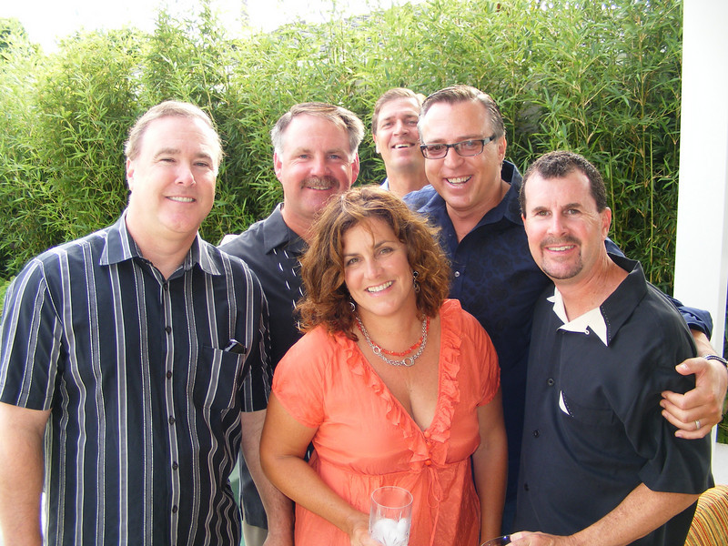 Craig Lyons, Don Barker, Dave Clark, Jeff Bitetti, and party hosts, Bridget and Blain Skinner at their pre-reunion gathering on Saturday afternoon