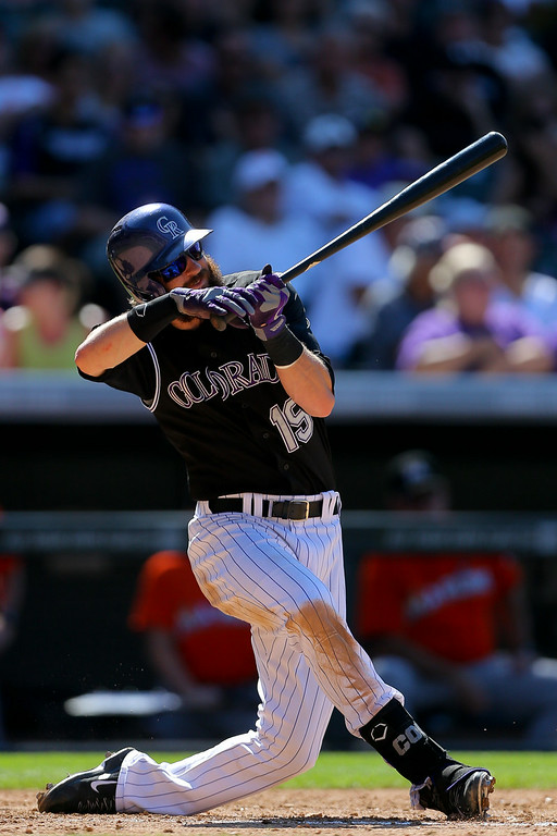 . Charlie Blackmon #19 of the Colorado Rockies checks his swing during the fifth inning against the Miami Marlins at Coors Field on August 24, 2014 in Denver, Colorado. The Rockies defeated the Marlins 7-4. (Photo by Justin Edmonds/Getty Images)