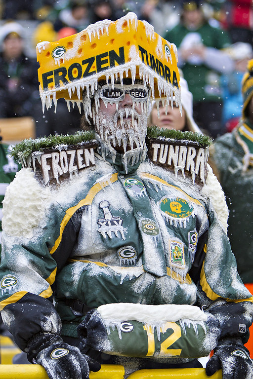 . Fan of the Green Bay Packers showing his support during a game against the Pittsburgh Steelers at Lambeau Field on December 22, 2013 in Green Bay, Wisconsin.  The Steelers defeated the Packers 38-31.  (Photo by Wesley Hitt/Getty Images)