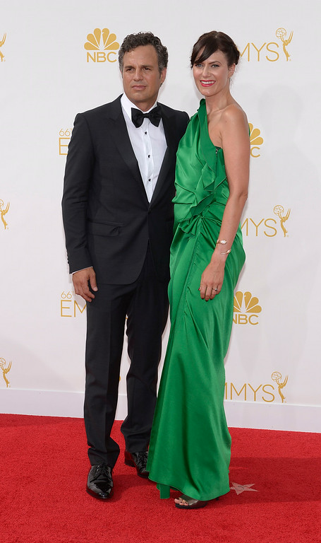 . Mark Ruffalo and Sunrise Coigney on the red carpet at the 66th Primetime Emmy Awards show at the Nokia Theatre in Los Angeles, California on Monday August 25, 2014. (Photo by John McCoy / Los Angeles Daily News)