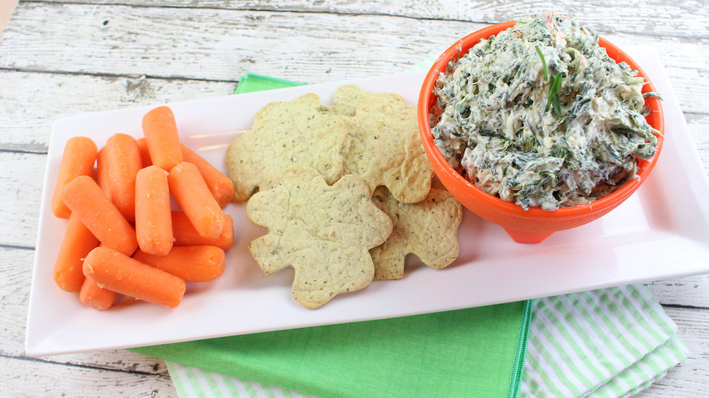 Skinny Spinach Dip with Baked Shamrock Chips