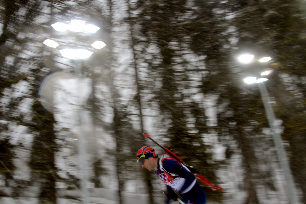 . Norway\'s Ole Einar Bjoerndalen competes in the Men\'s Biathlon 15 km Mass Start at the Laura Cross-Country Ski and Biathlon Center during the Sochi Winter Olympics on February 18, 2014, in Rosa Khutor, near Sochi. KIRILL KUDRYAVTSEV/AFP/Getty Images