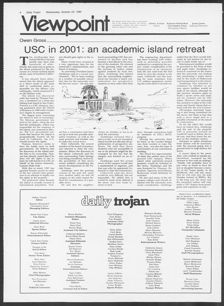 Daily Trojan, Vol. 100, No. 37, October 23, 1985