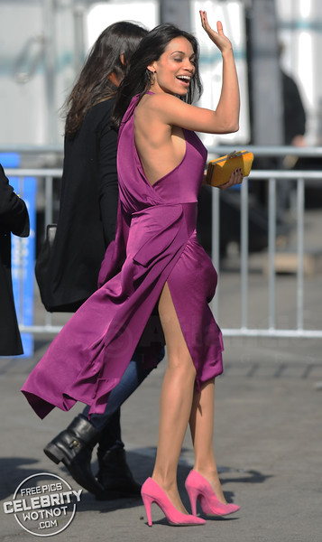 Rosario Dawson In Stunning Purple Silk Dress, LA