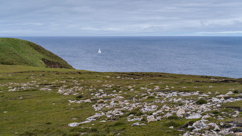 Sailboat off Erris Peninsula, Erris Head Loop Walk, Glenamoy, Belmullet, County Mayo, Ireland